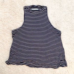 Navy Striped Sleeveless Blouse